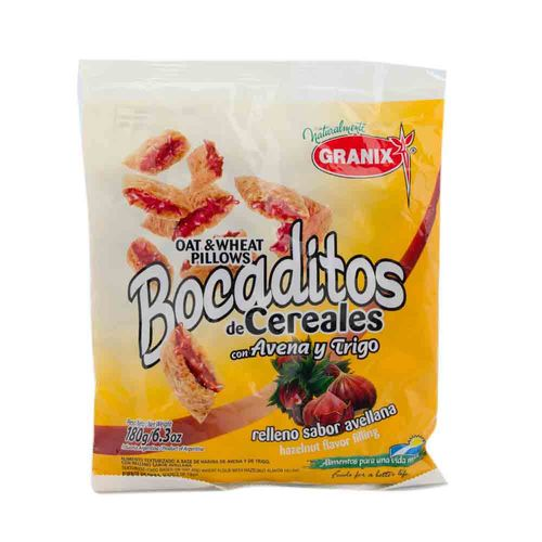 Bocaditos De Cereal Rellenos Con Avellana Granix 180 Gr
