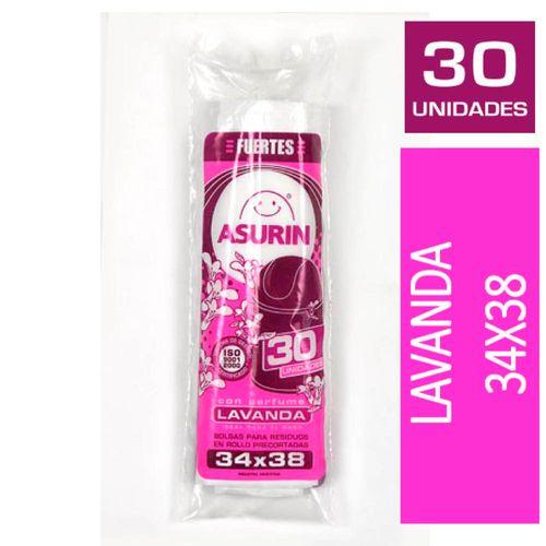 Bolsas Para Residuos Asurín® Baño Lavanda 34x38 Cm X 30 U