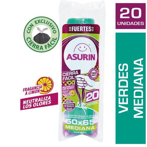 Bolsas Para Residuos Asurín® Mediana Verde Cierra Fácil 50x65 Cm X 20 U
