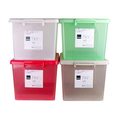 Caja Organizadora 25lt Con Ruedas Color Transparente 18 - X 1u