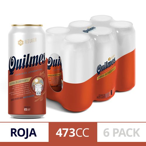 Cerveza Quilmes Red Lager 473cc Pack X 6 U