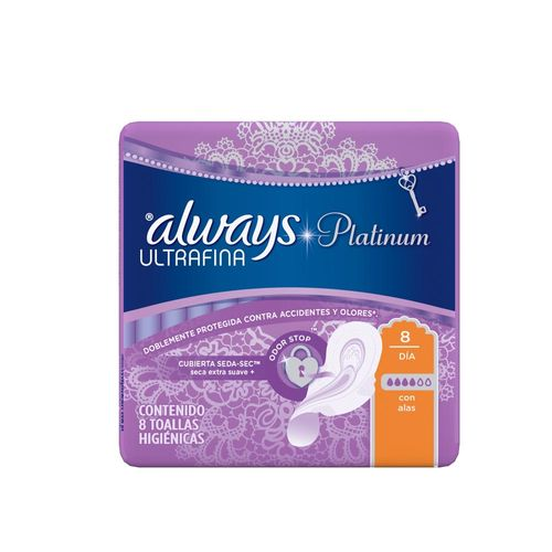 Toallitas Femeninas Always Platinum Ultrafina Día 8 Un