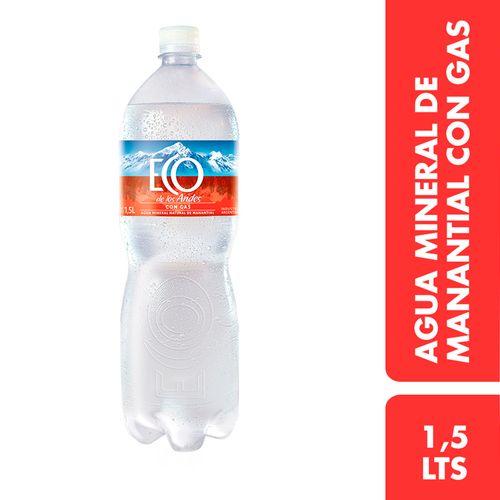 Agua Mineral De Manantial Eco De Los Andes Con Gas 1.5 L