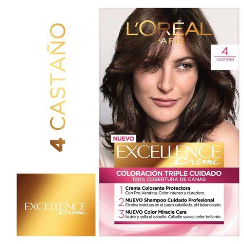 Tintura Permanente Excellence Creme De L Oréal París 4 Castaño 47 Gr - 1 U