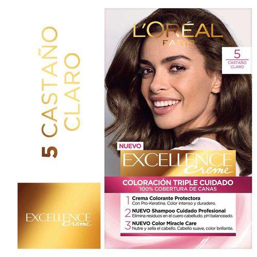 Tintura Permanente Excellence Creme De L Oréal París 5 Castaño Claro 47 Gr