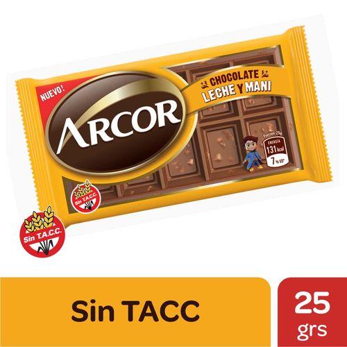 Chocolate Arcor C/leche Y Maní X25gr