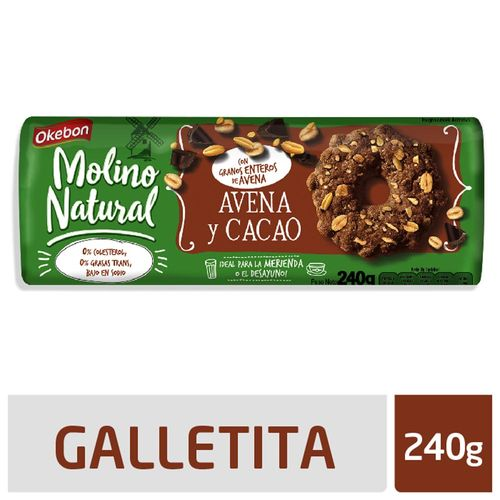 Galletitas Okebon Molino Natural Avena Y Cacao 240 Gr