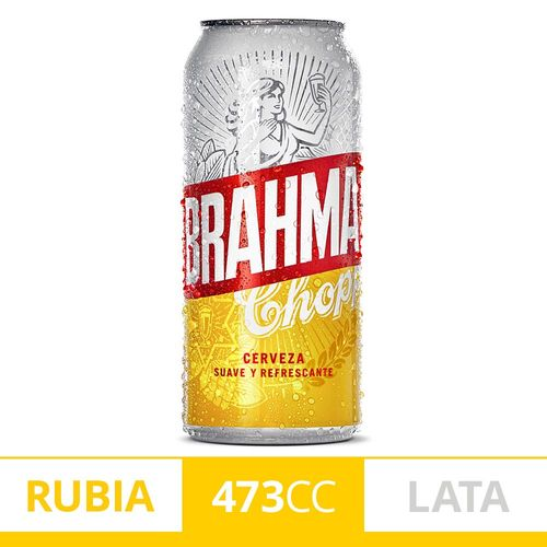 Cerveza Rubia Brahma Chopp 473 Ml Lata