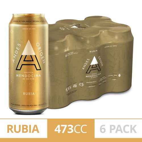 Cerveza Andes Origen Rubia 473cc Six Pack