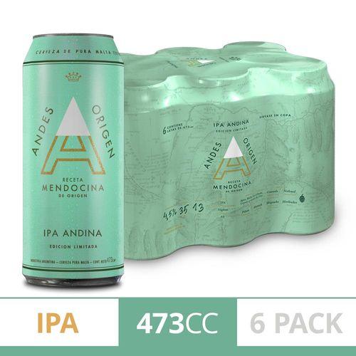 Cerveza Ipa Andes Origen Sixpack 473 Ml Lata