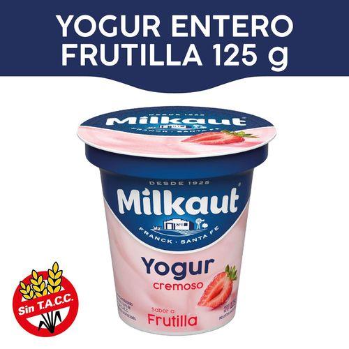 Yogur Entero Milkaut Sabor Frutilla 125 Gr