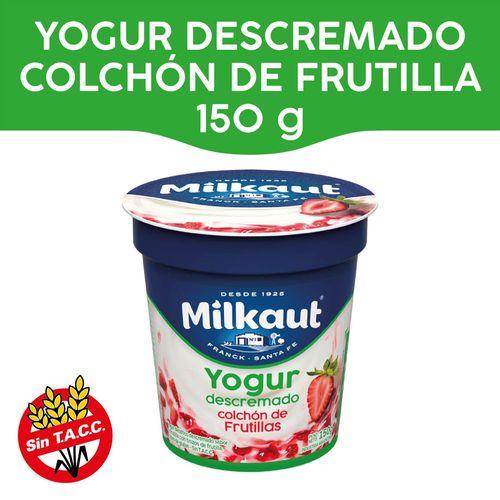 Yogur Descremado Milkaut Con Colchón De Frutilla 150 Gr