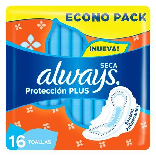 Toallas Higiénicas Always Seca Protección Plus 16 Unidades