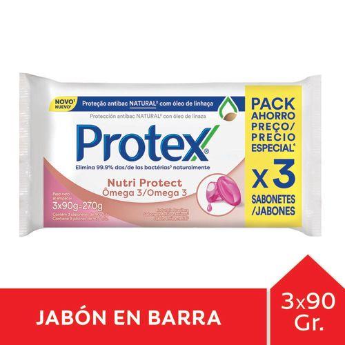 Jabón En Barra Protex Omega 3 90 Gr Pack 3 U