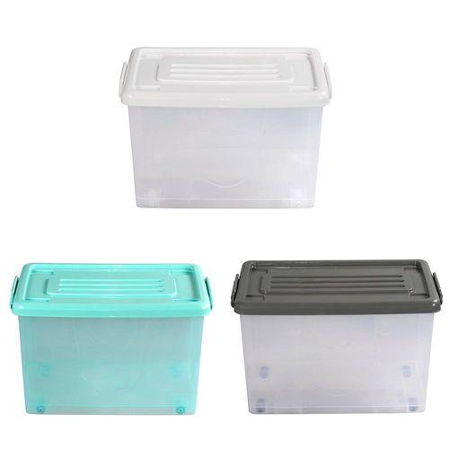 Caja Org 50lt C/rued Color Trans 3c Tt - 56 X 39 X 33 Cm - Plastico