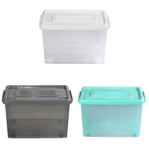 Caja Org 37lt C/rued Color Trans 3c Tt - 50 X 37,5 X 29,5 Cm - Plastico