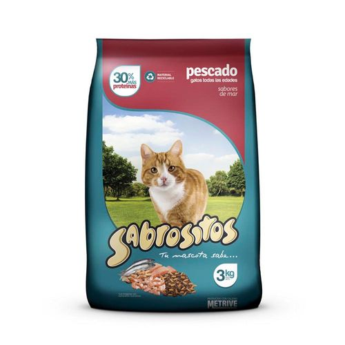 Alimento Sabrositos Para Gatos Pescado X3kg