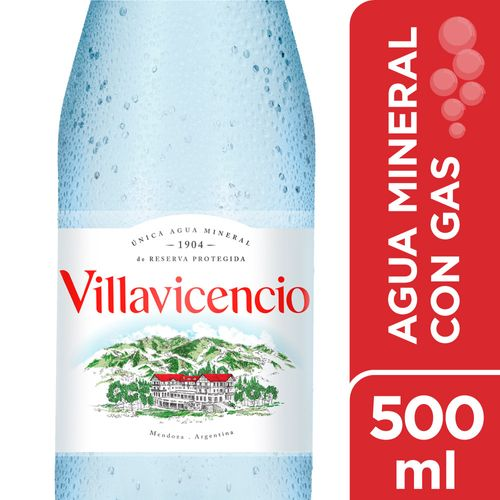 Agua Villavicencio Pet Con Gas 500 Ml