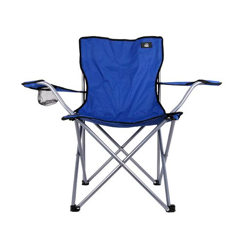 Silla Camping Caño Con Apoyabrazos Azul