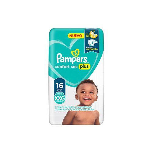 Pañales Pampers Confort Sec Plus Xxg 16 Un