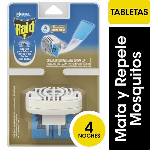 Insecticida Raid Contra Mosquitos Tabletas Aparato Completo 12un