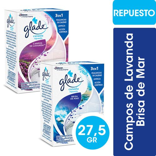 Canasta Solida Para Inodoros Glade Repuesto Campos De Lavanda / Brisa De Mar
