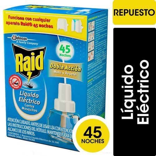Insecticida Raid Contra Mosquitos Líquido Eléctrico Repuesto 45 Noches 32.9ml