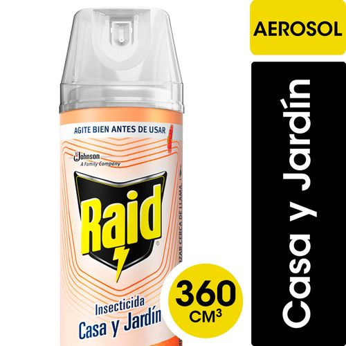 Insecticida Raid Casa Y Jardín Eficacia Segura En Aerosol 360cc