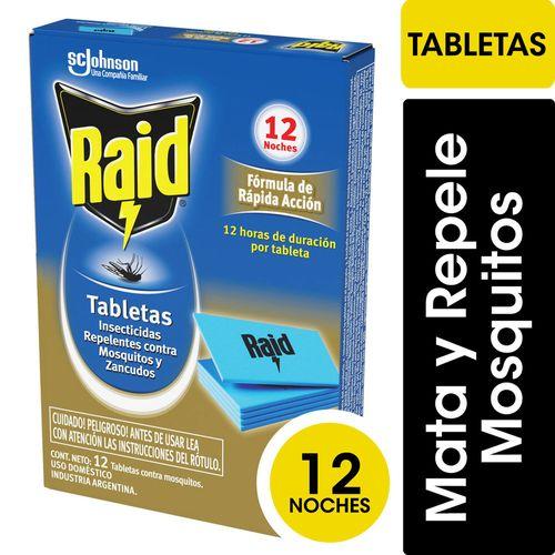 Insecticida Raid Contra Mosquitos Tabletas Repuesto 12un