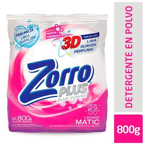 Detergente En Polvo Zorro Baja Espuma Suavizante 800 Gr
