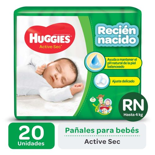 Pañal Huggies Active Sec Rn X20un