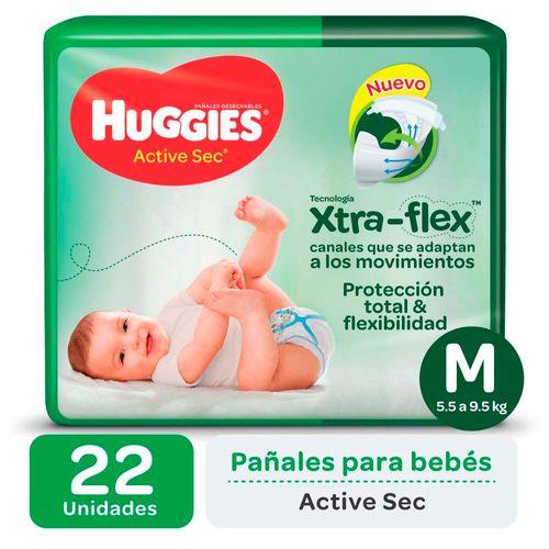 Pañal Huggies Active Sec M X22un