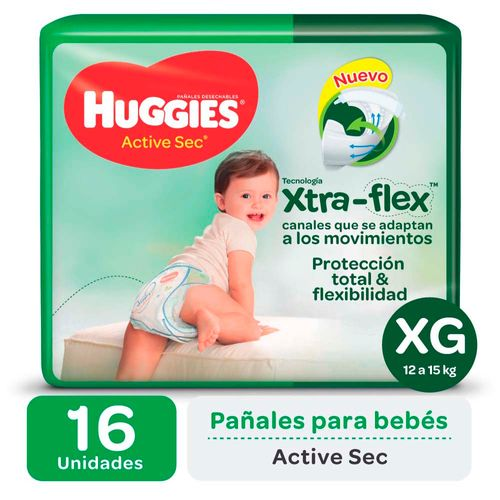 Pañal Huggies Active Sec Xg X16un