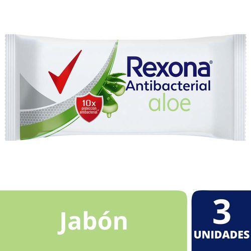 Jabón En Barra Rexona Antibacterial Con Aloe Vera 3x90 G