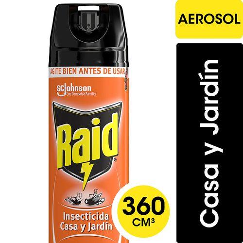 Insecticida Raid Casa Y Jardín Mata Moscas Y Mosquitos En Aerosol 360cc